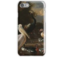 Melchior d Hondecoeter - A Pelican and Other Birds near a Pool, known as  The Floating Feather Around 1680 iPhone Case/Skin