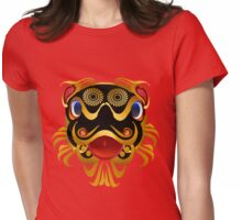 Black 'n Gold Chinese Dragon Face Womens Fitted T-Shirt