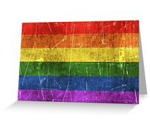 Vintage Aged and Scratched Rainbow Gay Pride Flag Greeting Card