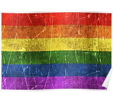 Vintage Aged and Scratched Rainbow Gay Pride Flag Poster