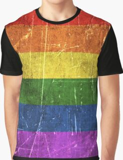 Vintage Aged and Scratched Rainbow Gay Pride Flag Graphic T-Shirt