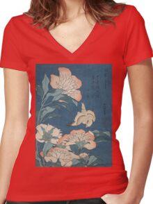 Katsushika Hokusai - Peonies and Canary Shakuyaku. Japanese Still Life . Flowers Women's Fitted V-Neck T-Shirt