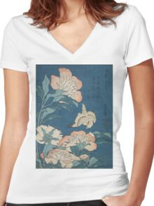 Katsushika Hokusai - Peonies and Canary Shakuyaku. Japanese Still Life . Flowers Women's Fitted V-Neck T-Shirt