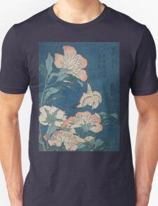 Katsushika Hokusai - Peonies and Canary Shakuyaku. Japanese Still Life . Flowers Unisex T-Shirt