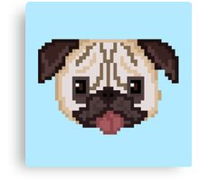Pixel Pug (Blue) Canvas Print