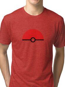 Flat half pokeball Tri-blend T-Shirt