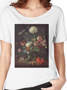 Jan Davidsz de Heem - Vase of Flowers , Flowers , Bouquet of Flowers , Love , Kiss  Women's Relaxed Fit T-Shirt