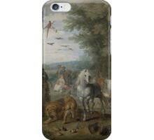 Jan Brueghel the Elder - Paradise Landscape with the Animals Entering Noah s Ark 1613–1615 iPhone Case/Skin
