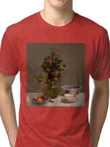 Henri Fantin-Latour - Still Life with Vase of Hawthorn, Bowl of Cherries, Japanese Bowl, and Cup and Saucer 1872 Tri-blend T-Shirt