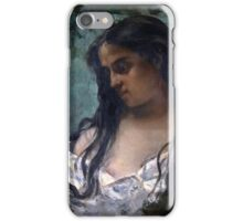 Gustave Courbet - Gypsy in Reflection 1869 , Gypsy Woman ,  Portrait   iPhone Case/Skin