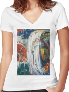 Franz Marc - The Bewitched Mill 1913  Landscape  Women's Fitted V-Neck T-Shirt