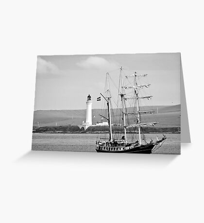 Orkney Island. Hoy Lighthouse with Tall Ship THALASSA. Greeting Card