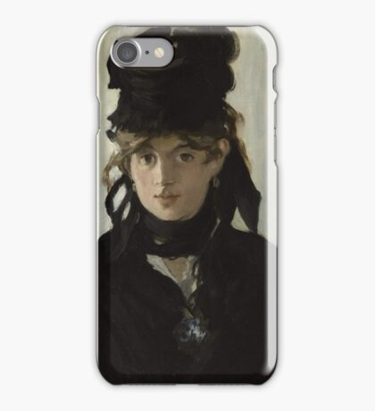 Edouard Manet - Berthe Morisot With a Bouquet of Violets 1872 , French Impressionism , Woman , Fashion ,  Portrait  iPhone Case/Skin