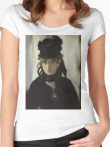 Edouard Manet - Berthe Morisot With a Bouquet of Violets 1872 , French Impressionism , Woman , Fashion ,  Portrait  Women's Fitted Scoop T-Shirt
