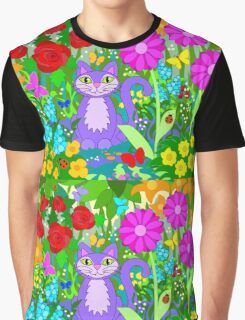 Cat in the Garden Colorful Flowers Butterflies Graphic T-Shirt