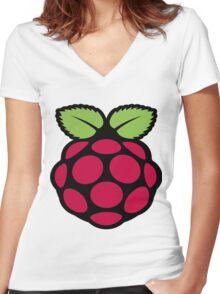raspberry logo Women's Fitted V-Neck T-Shirt