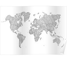 world map mandala tribal patterns illustration Poster