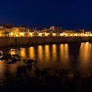 Royal Blue and Gold - Syracuse, Sicily from the Sea Promenade by Georgia Mizuleva
