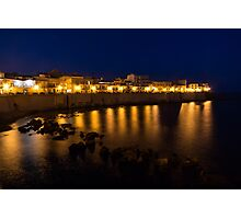 Royal Blue and Gold - Syracuse, Sicily from the Sea Promenade Photographic Print