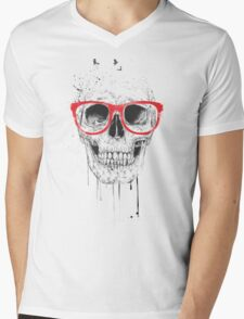 Skull with red glasses Mens V-Neck T-Shirt