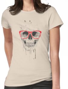 Skull with red glasses Womens Fitted T-Shirt