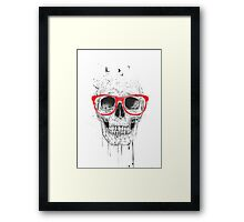 Skull with red glasses Framed Print