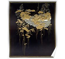 Shikishi (square calligraphy paper) Box with Design of Flowers and Praying Mantis Poster