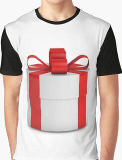 one white  gift box with red ribbon  Graphic T-Shirt