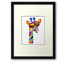 Hilarious Cool Giraffe Wearing Sunglasses Abstract Framed Print