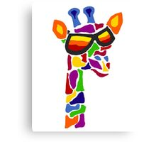 Hilarious Cool Giraffe Wearing Sunglasses Abstract Canvas Print