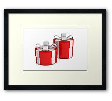 two red gift boxes with white ribbon  Framed Print