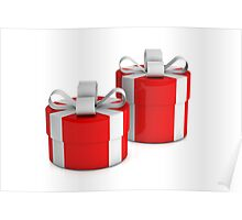 two red gift boxes with white ribbon  Poster