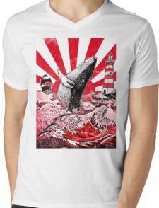 Japan Whale Mens V-Neck T-Shirt