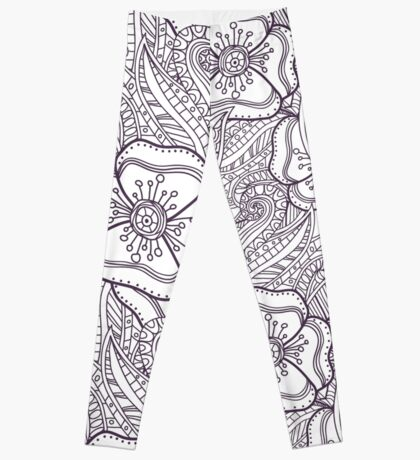 Abstract floral pattern. Doodle. Leggings