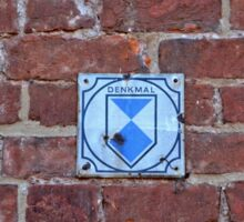 """Red Brick Wall with sign """"Memorial"""" (Historic memorial) in Germany Sticker"""