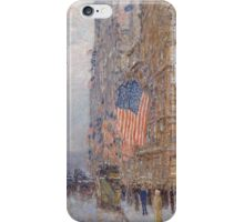 Childe Hassam - Flags on the Waldorf 1916 American Impressionism Landscape iPhone Case/Skin