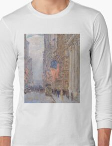 Childe Hassam - Flags on the Waldorf 1916 American Impressionism Landscape Long Sleeve T-Shirt