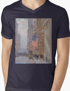 Childe Hassam - Flags on the Waldorf 1916 American Impressionism Landscape Mens V-Neck T-Shirt