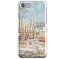 Childe Hassam - Building the Schooner, Provincetown 1900 iPhone Case/Skin