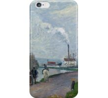 Camille Pissarro - The Oise near Pontoise in Grey Weather 1876  French Impressionism Landscape iPhone Case/Skin