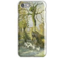 Camille Pissarro - The Goose Girl at Montfoucault White Frost 1875 French Impressionism Landscape iPhone Case/Skin