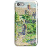 Camille Pissarro - Peasants  houses, Eragny 1887  French Impressionism Landscape iPhone Case/Skin