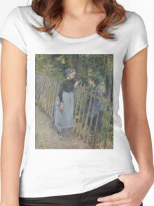 Camille Pissarro - Conversation  1881 French Impressionism Landscape Women's Fitted Scoop T-Shirt