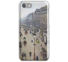 Camille Pissarro - Boulevard Montmartre, morning, cloudy weather 1897 French Impressionism Landscape iPhone Case/Skin