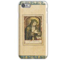 St. Catherine of Siena, engraving by Carel de Mallery (1571-1645), Antwerp and Paris, early 16th century, reverse with fragments of poetry in nasta'liq iPhone Case/Skin