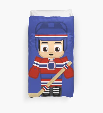 Super cute sports stars - Ice Hockey Blue and Red Duvet Cover