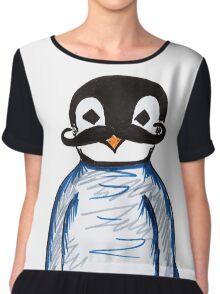 Penguin Mustache Chiffon Top
