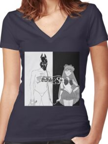 Death Grips with sailor venus as the girl instead of  Women's Fitted V-Neck T-Shirt