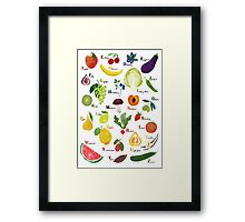 English alphabet with fruit and vegetables Framed Print