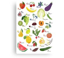 English alphabet with fruit and vegetables Metal Print